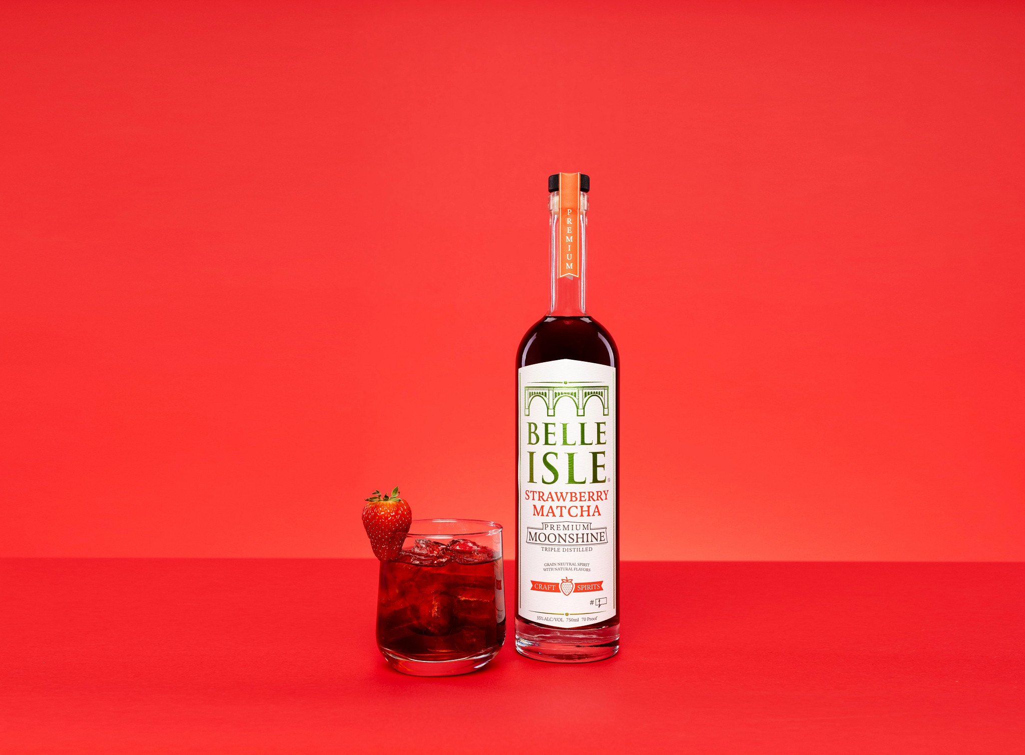 The harvest manhattan made with belle isle moonshine